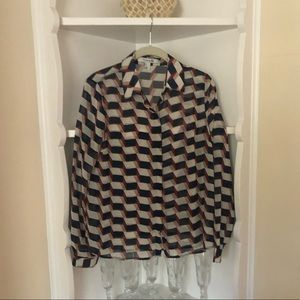 Forever 21 Blouse Button Down Long Sleeves Sheer